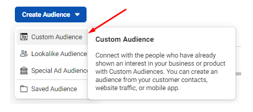 Selecting the Custom Audience option from the Create Audience field.