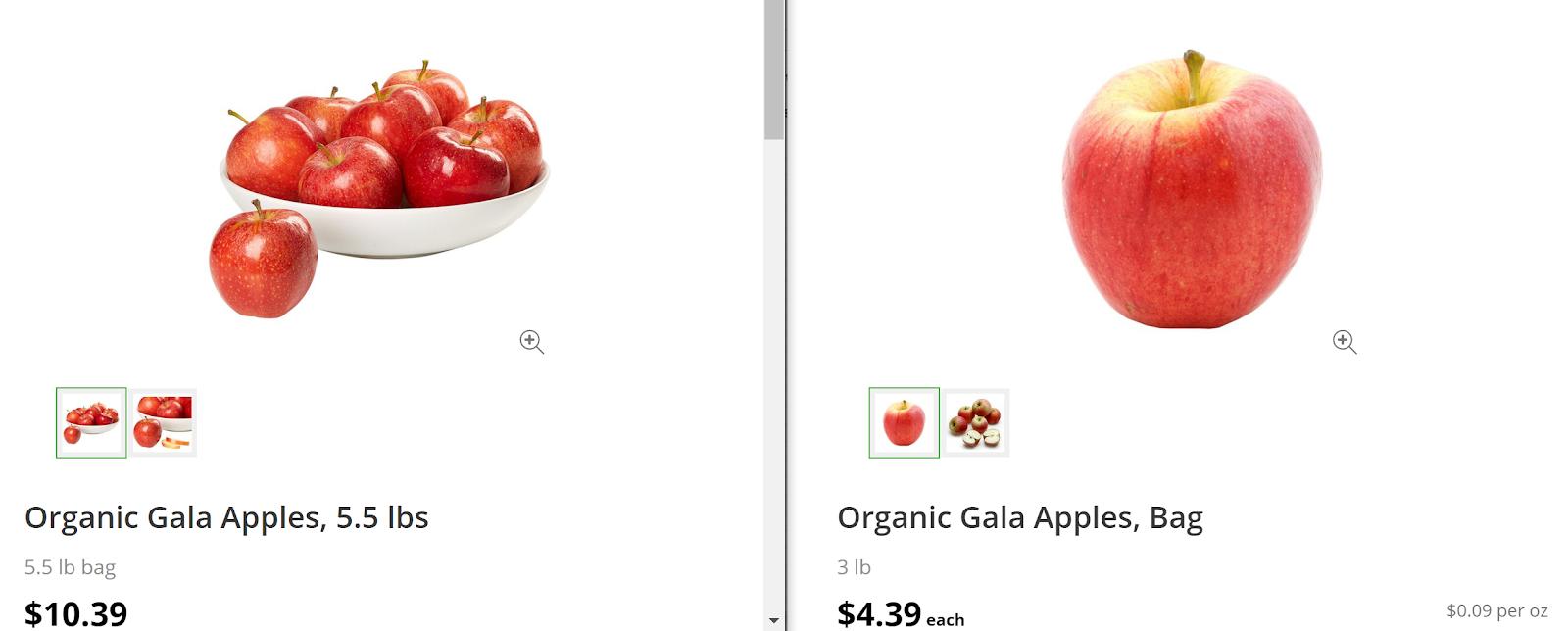 aldi vs costco apple comparison