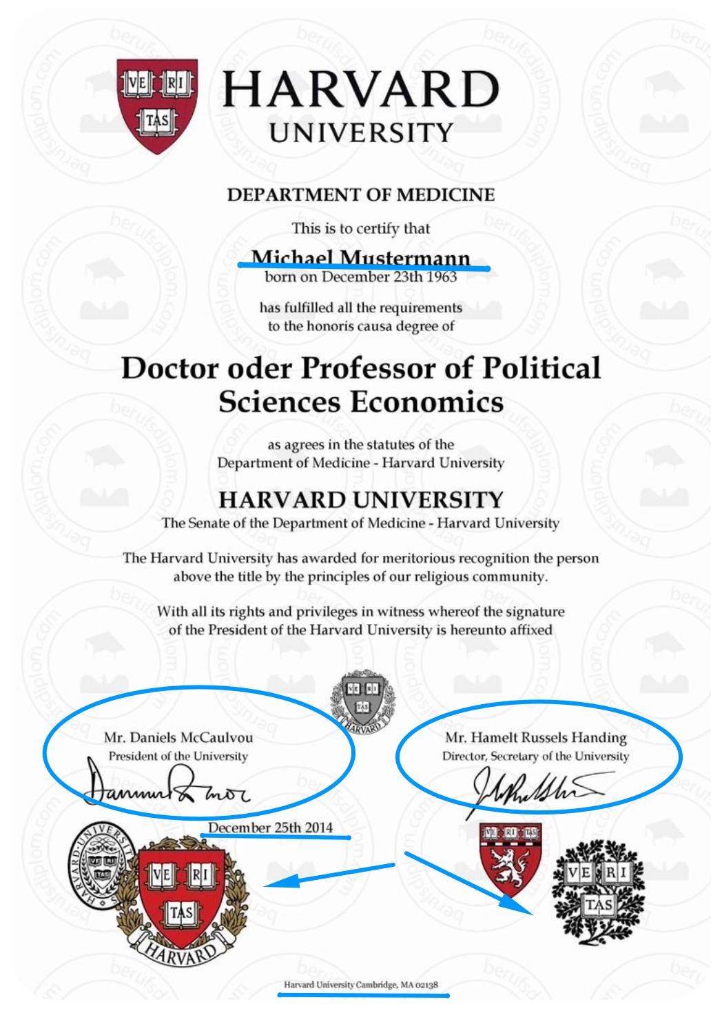 Harvard University certificate design