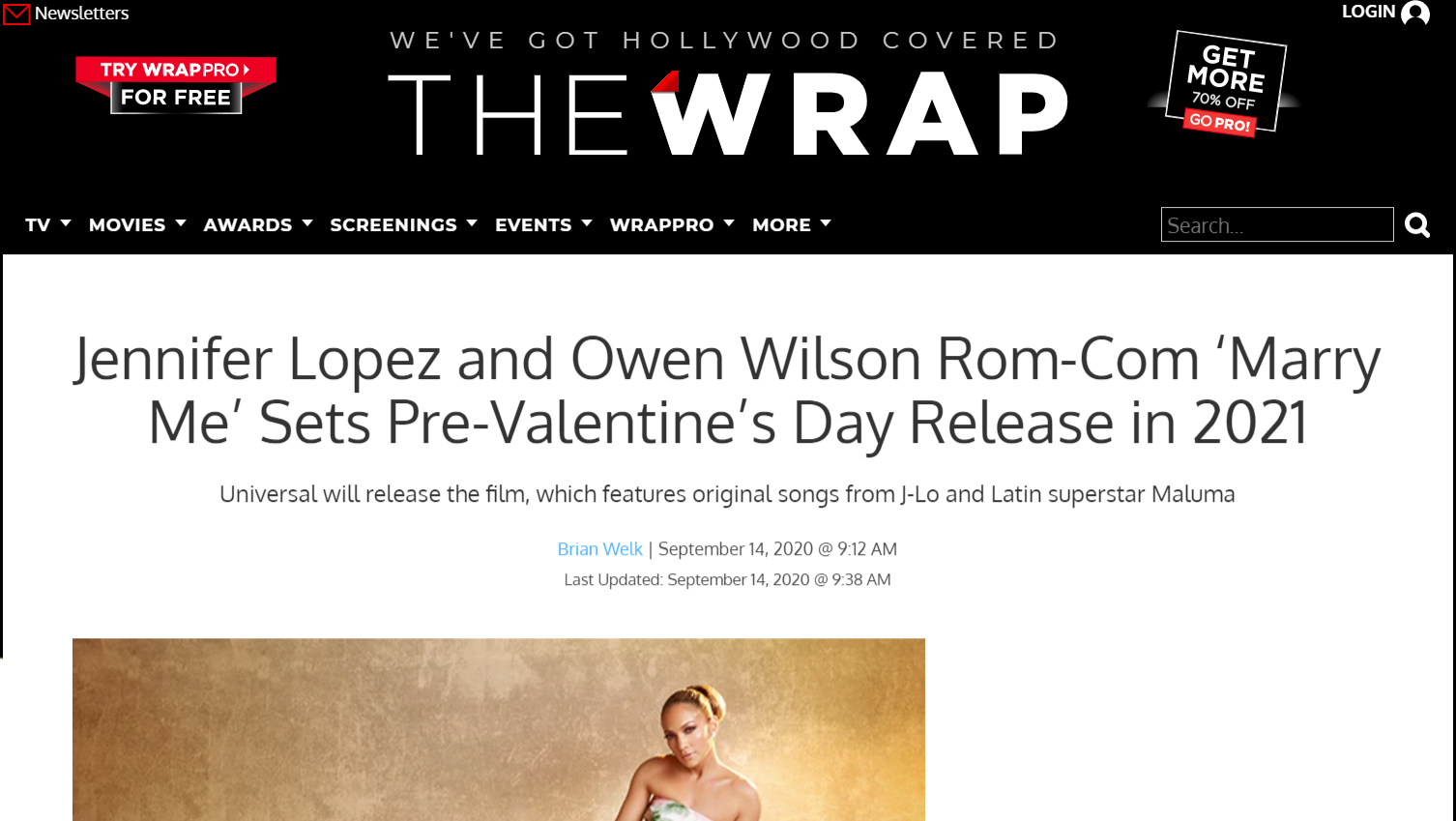 Valentine's Day story from the Wrap on the release of Marry Me