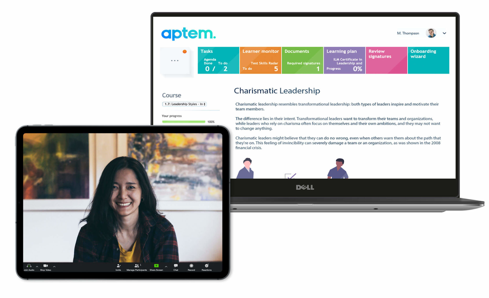 View of the Aptem Dashboard on a laptop.