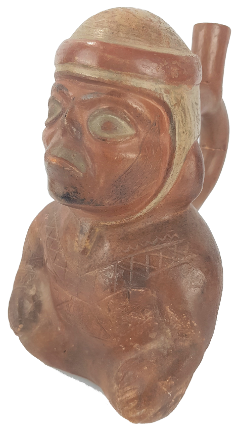 A Pottery Vessel in the form of a Seated Man. In the style of a Peruvian Moche Portrait vessel, for sale at The Auction Barn.