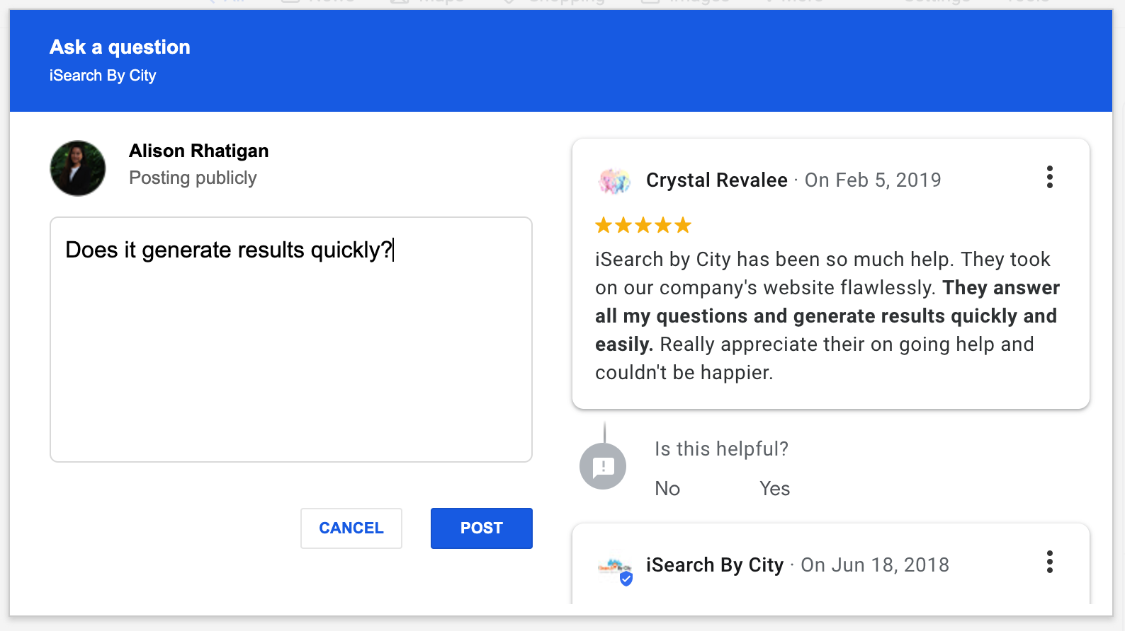 Google My Business Listings Use Reviews & Past Posts to
