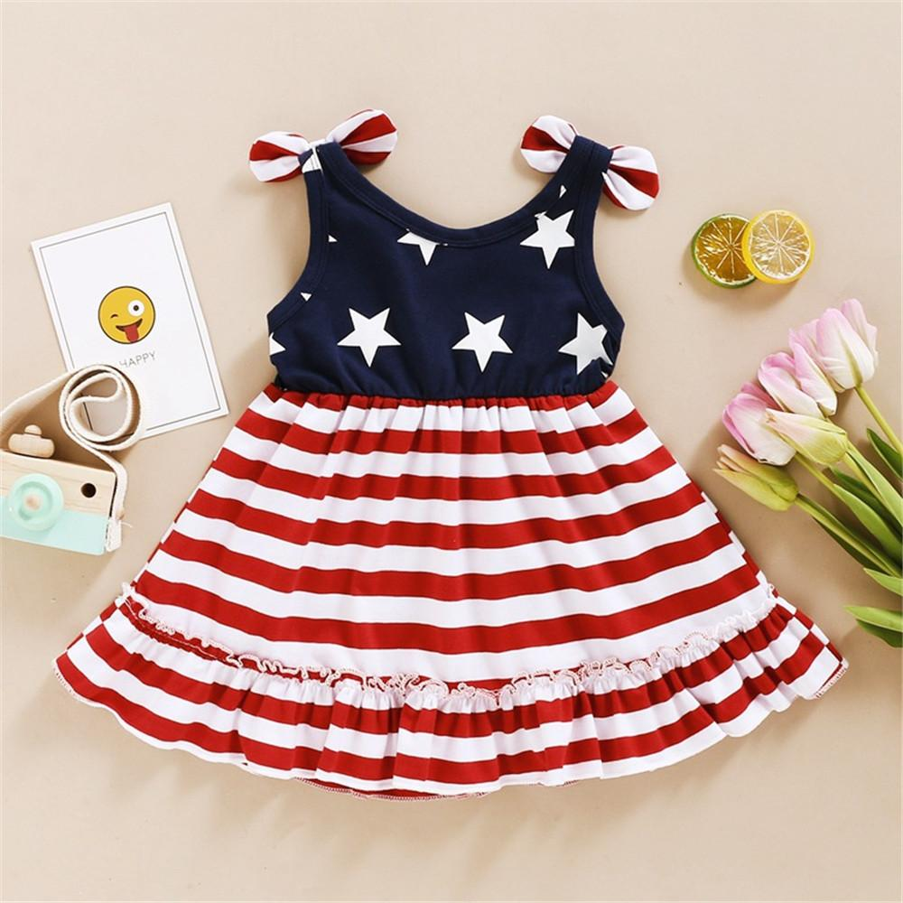 Little Girl American Flag Dress with Bow Sleeves for Independence Day