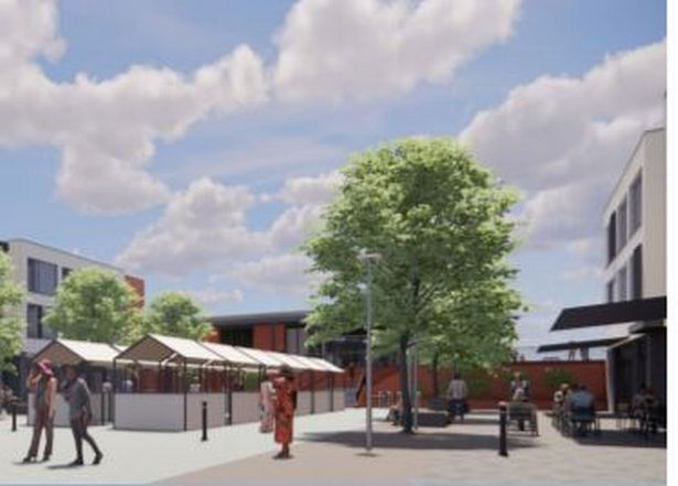 Artist impression of the proposed Cranbrook town square and town centre