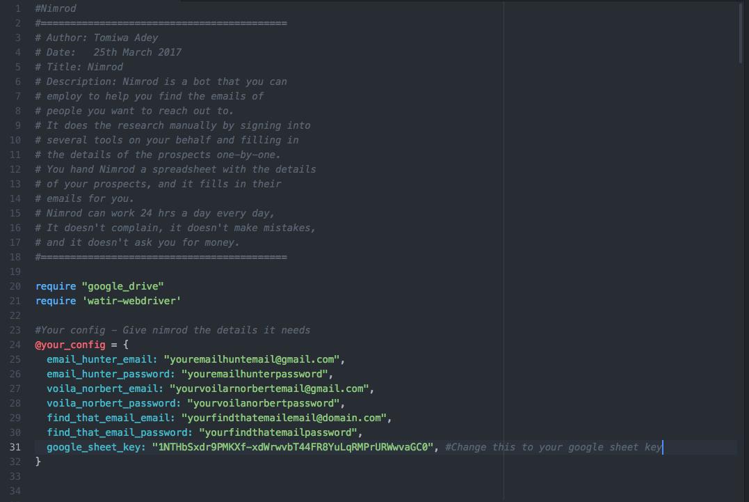 Enter details in Nimrod screenshot