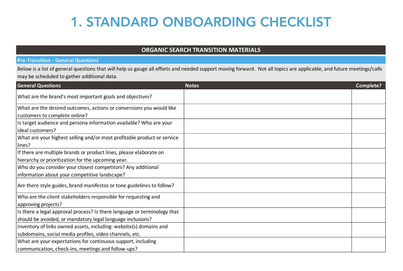 Standard onboarding checklist