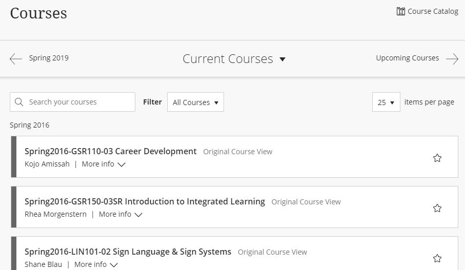 Screenshot of Blackboard course listings for the current semester but displaying courses from 2016