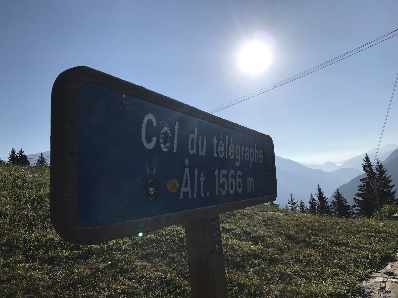 Bicycle ride up Col du Telegraphe and Col du Galibier - altitude sign at Col du Telegraphe