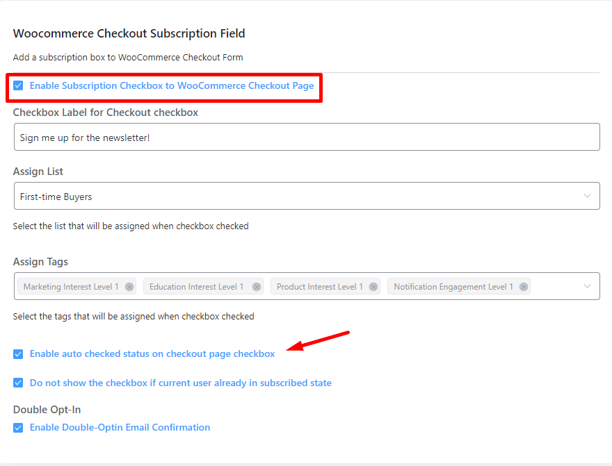 adding email subscriptions to checkout, opt in email marketing