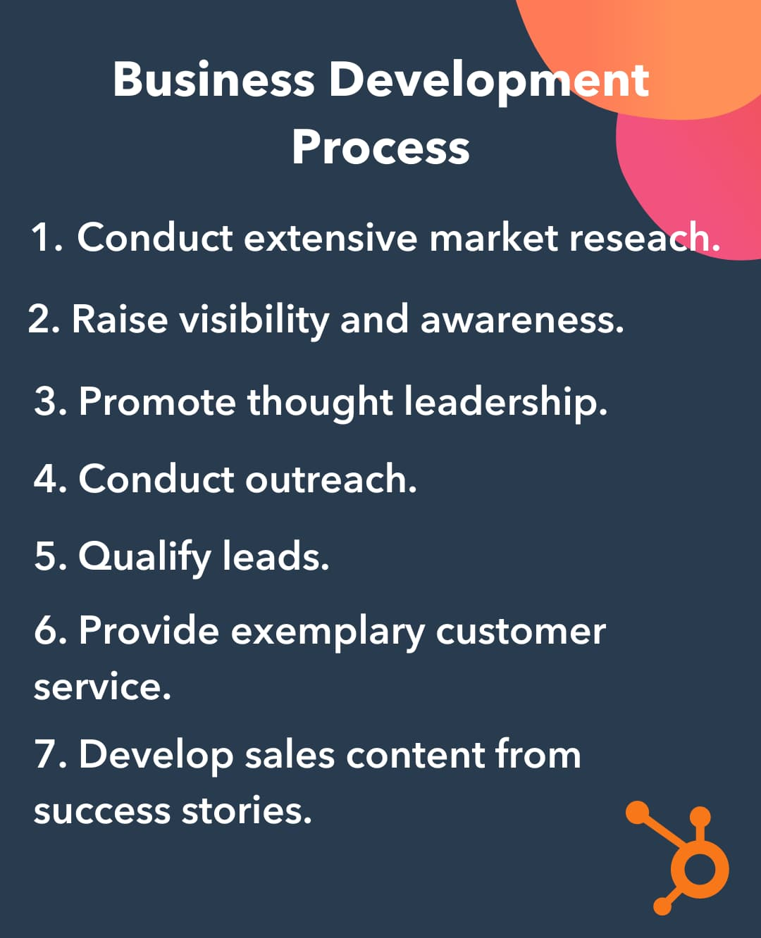 Visual of the 7 business development process/strategy stages