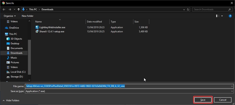 Instalação Office - seleccionar a localização do ficheiro de instalação