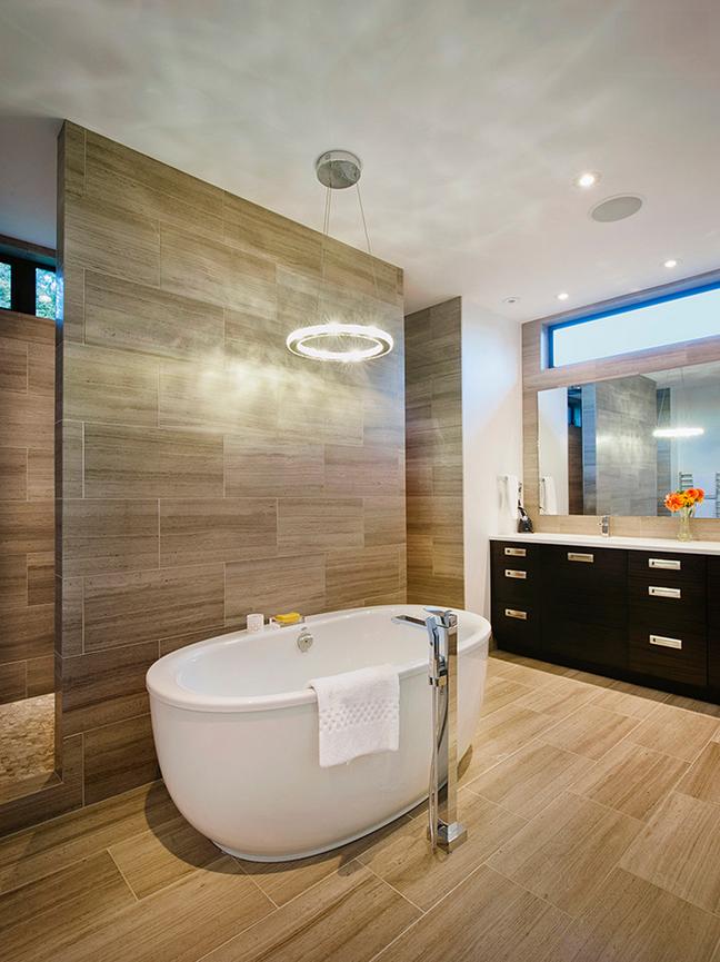 Brown Mid Century Modern Bathroom Freestanding Tub