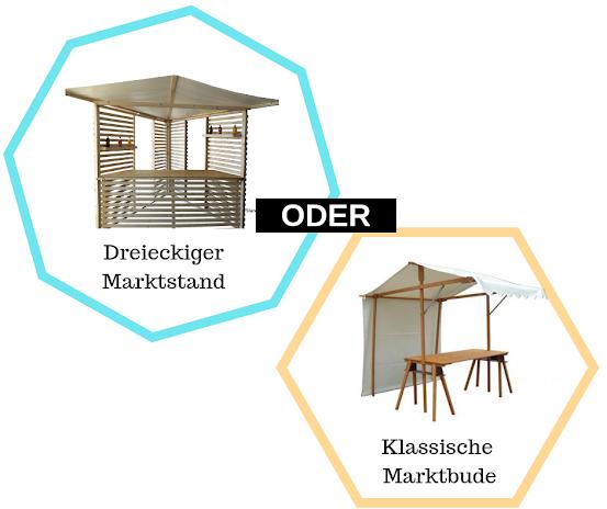 Auswahl zwischen Dreieckigen oder klassischen Marktständen./Select your booth.