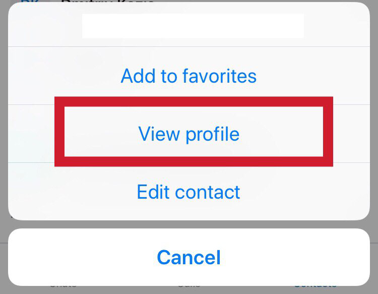"Select the ""View profile"" item - Skype for Business"