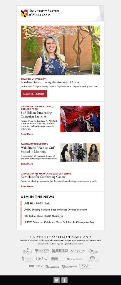 University of Maryland newsletter example