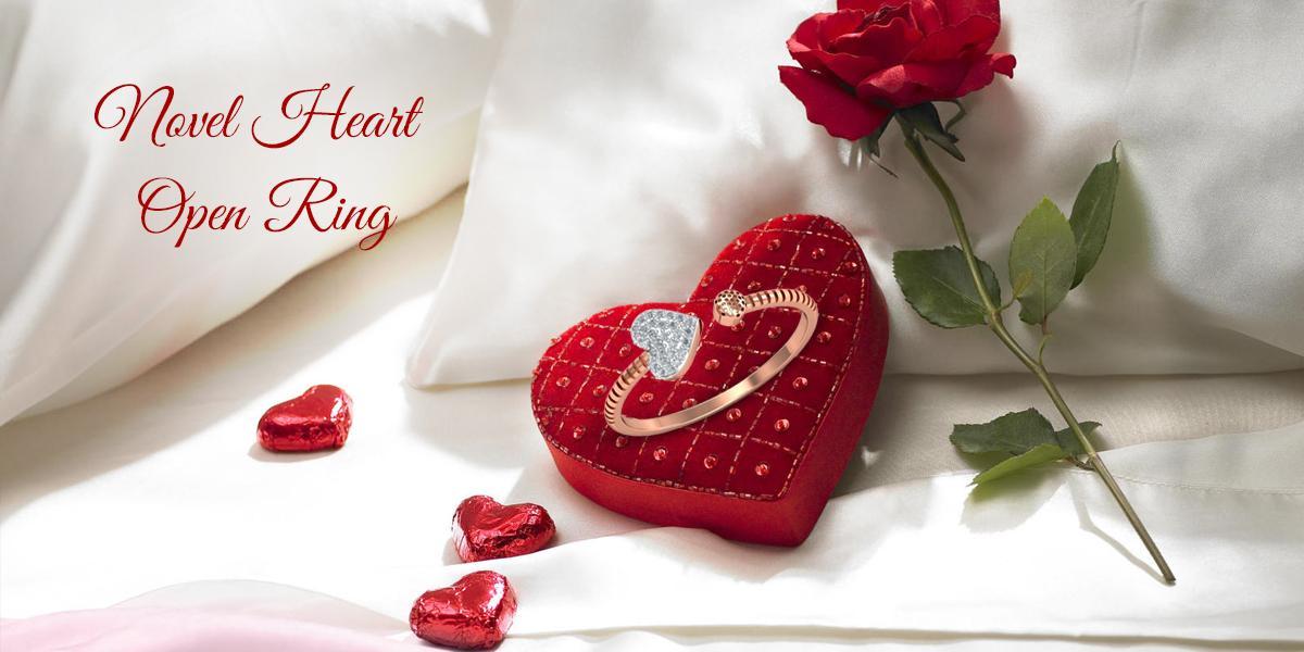 novel heart open ring