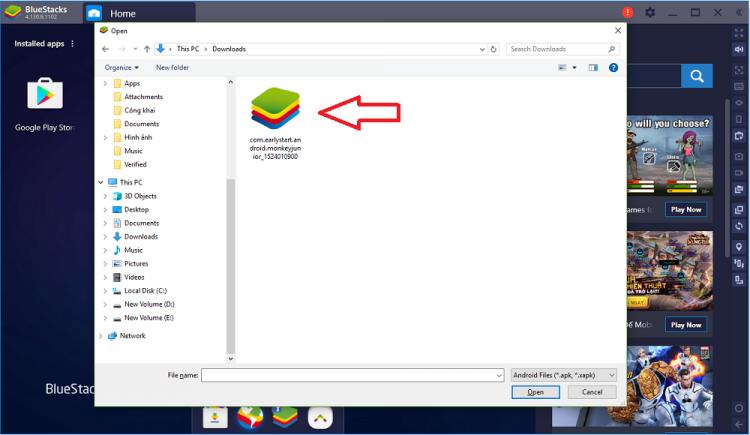 Chọn File Apk để cài đặt