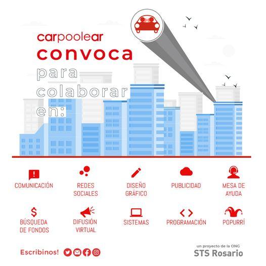 """Puede ser una imagen de texto que dice """"carpoolear convoca para colaborar COMUNICACIÓN REDES SOCIALES DISEÑO GRÁFICO PUBLICIDAD $ BÚSQUEDA DE FONDOS MESA DE AYUDA DIFUSIÓN VIRTUAL SISTEMAS <> PROGRAMACIÓN Escribinos! POPURRÍ un proyecto de ONG STS Rosario"""""""