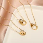 Women's Korean-Style Double-Ring Rose Gold Zircon Necklace Cross-Border Hot Selling Roman Titanium Steel Creative Pendant Diamond Inlaid Clavicle Chain