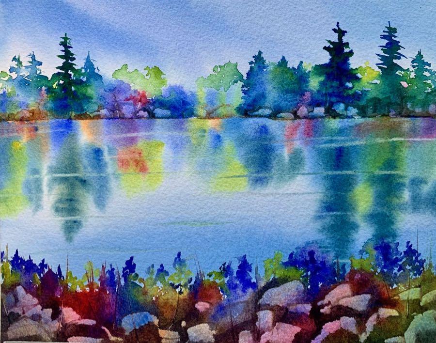 An abstract watercolor lake scene