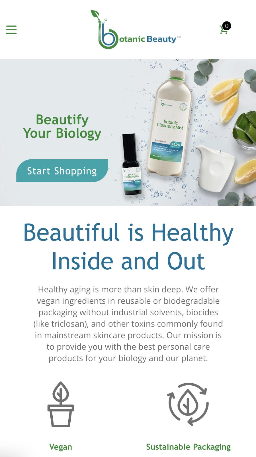 screenshot of mobile view of botanicbeauty.com