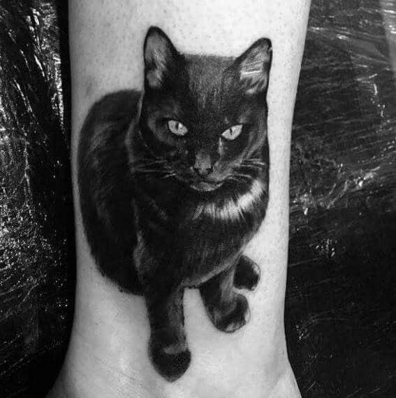 ลายสักแมวขาวดำ6