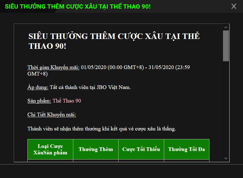 """Thông tin chi tiết về sự kiện """"Siêu thưởng cược xâu Thể Thao 90"""" tại JBO, tối đa lên đến 5.000.000 đồng"""