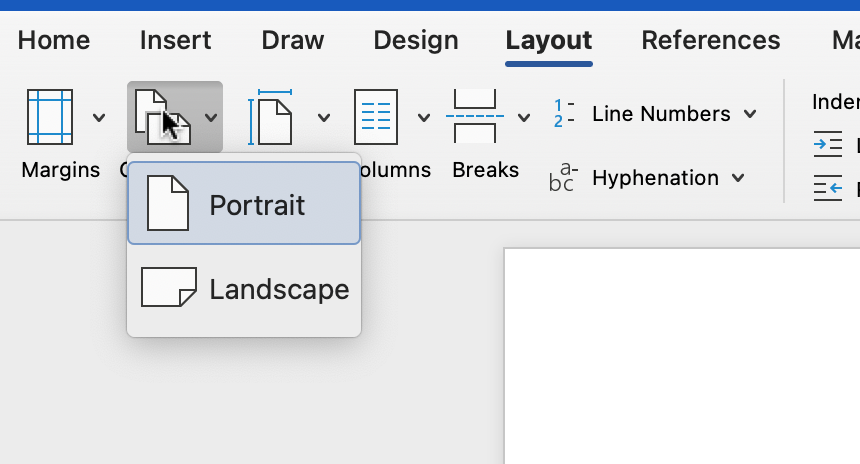 Screenshot of page orientation options in Microsoft Word.