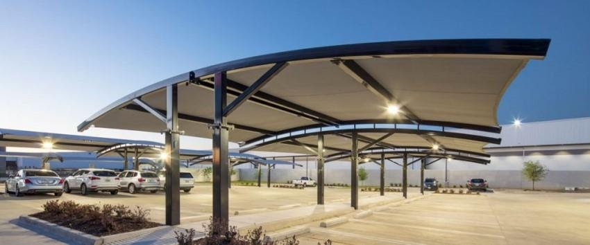 Mái tôn vòm nhà để xe thiết kế độc đáo, tiết kiệm diện tích