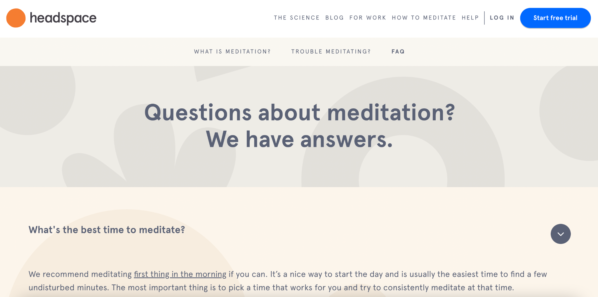 Headspace FAQ page for the decision stage of the customer journey