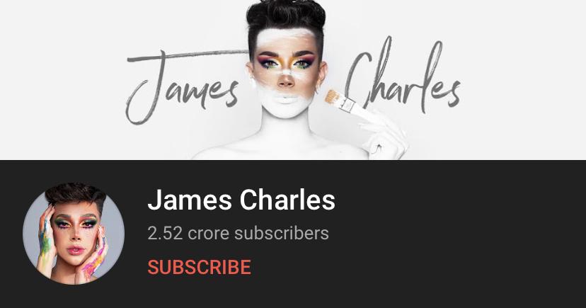 james charles youtube profile wih 2.52 corroe subscribers shown