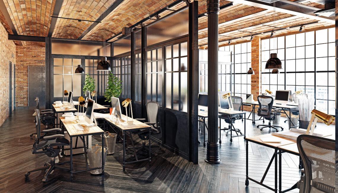 bureaux avec verrière de style industrielle