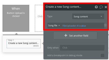 Bubble Spotify clone Create new song content tutorial