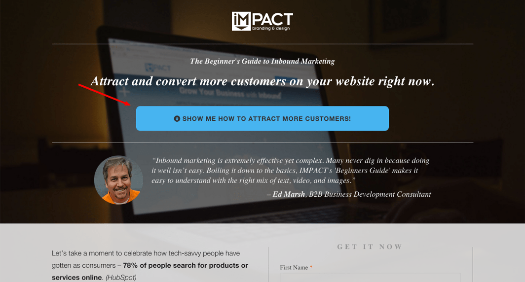 Impact Branding & Design Ebook Landing Page Attract Customers