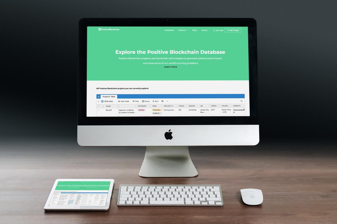 L'interface de Positifblockchain.io