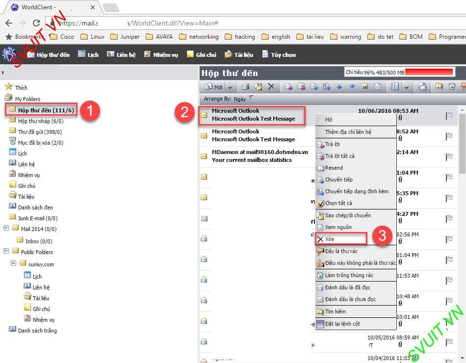 Xóa thư trên webmail và giữ lại trên Outlook (10)