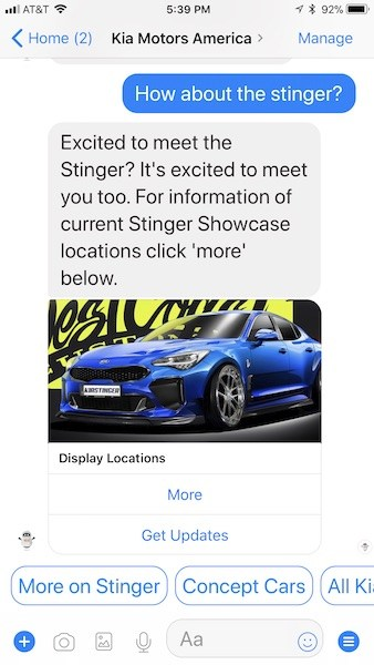 Kia Chatbot Example
