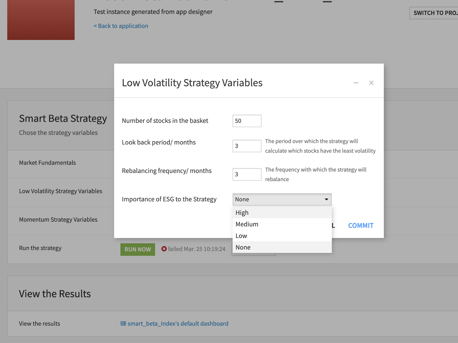 low volatility strategy variables