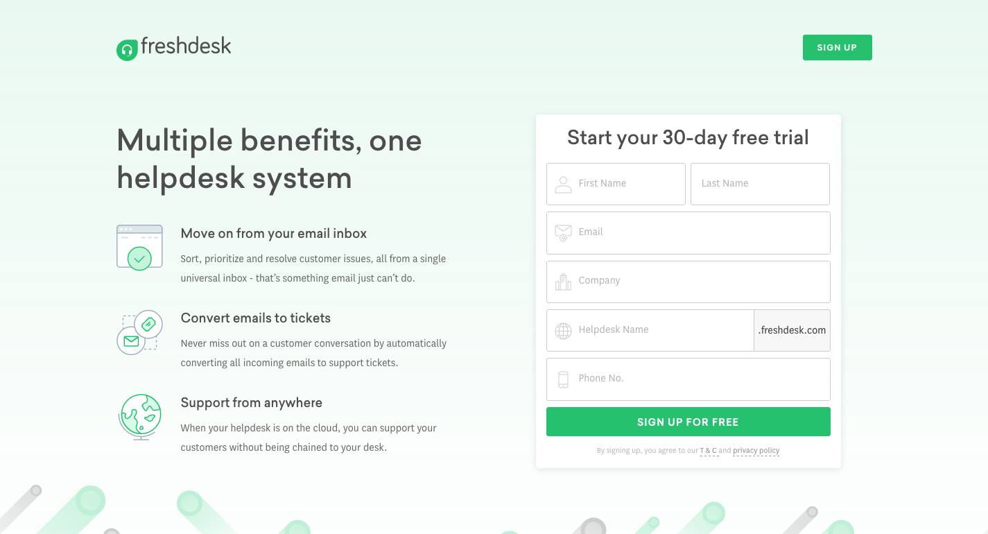 Freshdesk Bing landing page example