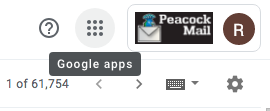 "Google Mail Screen with Waffle Icon highlighted to display text ""Google Apps"""