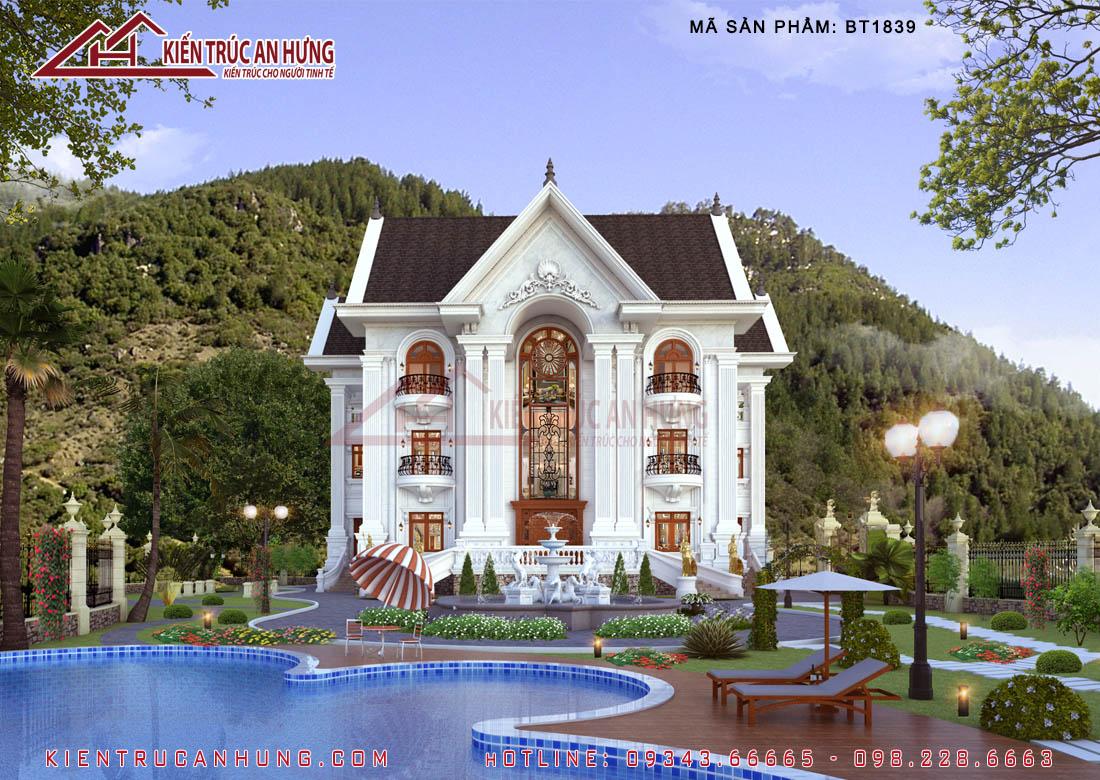 Sân vườn hài hòa với phong cách kiến trúc tân cổ điển