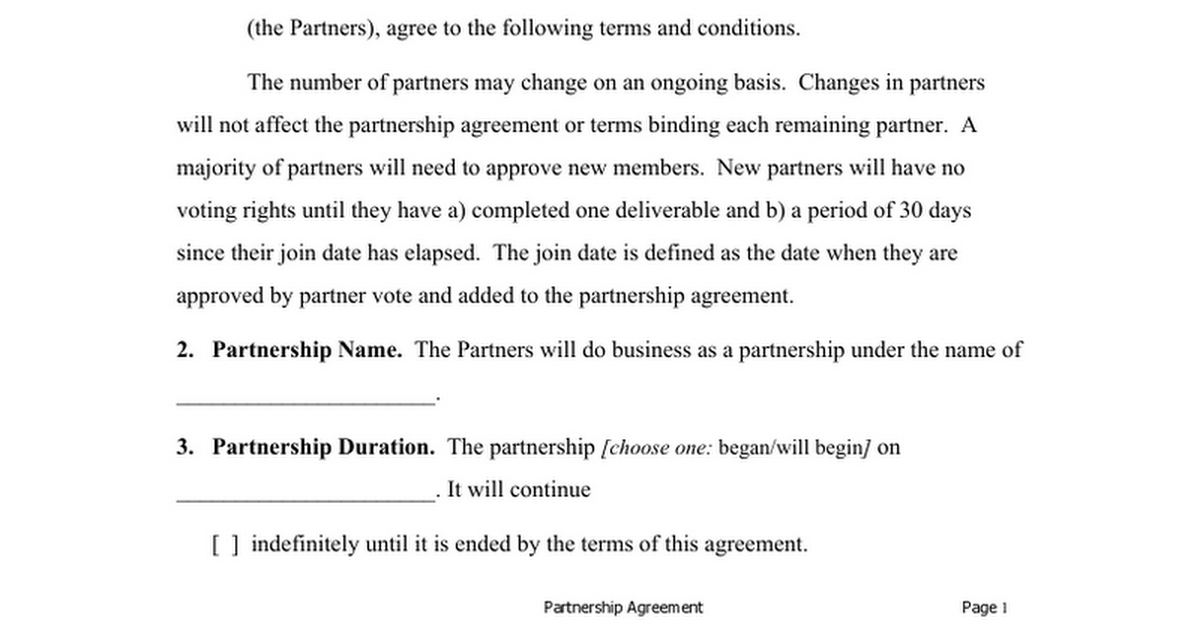 Partnership Agreement For Sweat Equity Google Docs