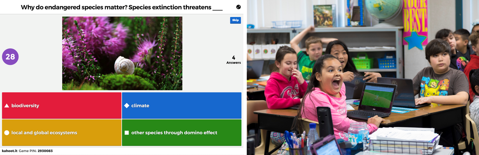 Online teaching tool: Kahoot (interface and students reactions to the interactive quiz)