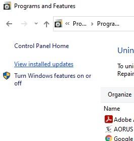 view installed update