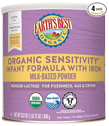 Earth's Best Organic Sensitivity Infant Formula with Iron and ideal for colic and reflux in babies