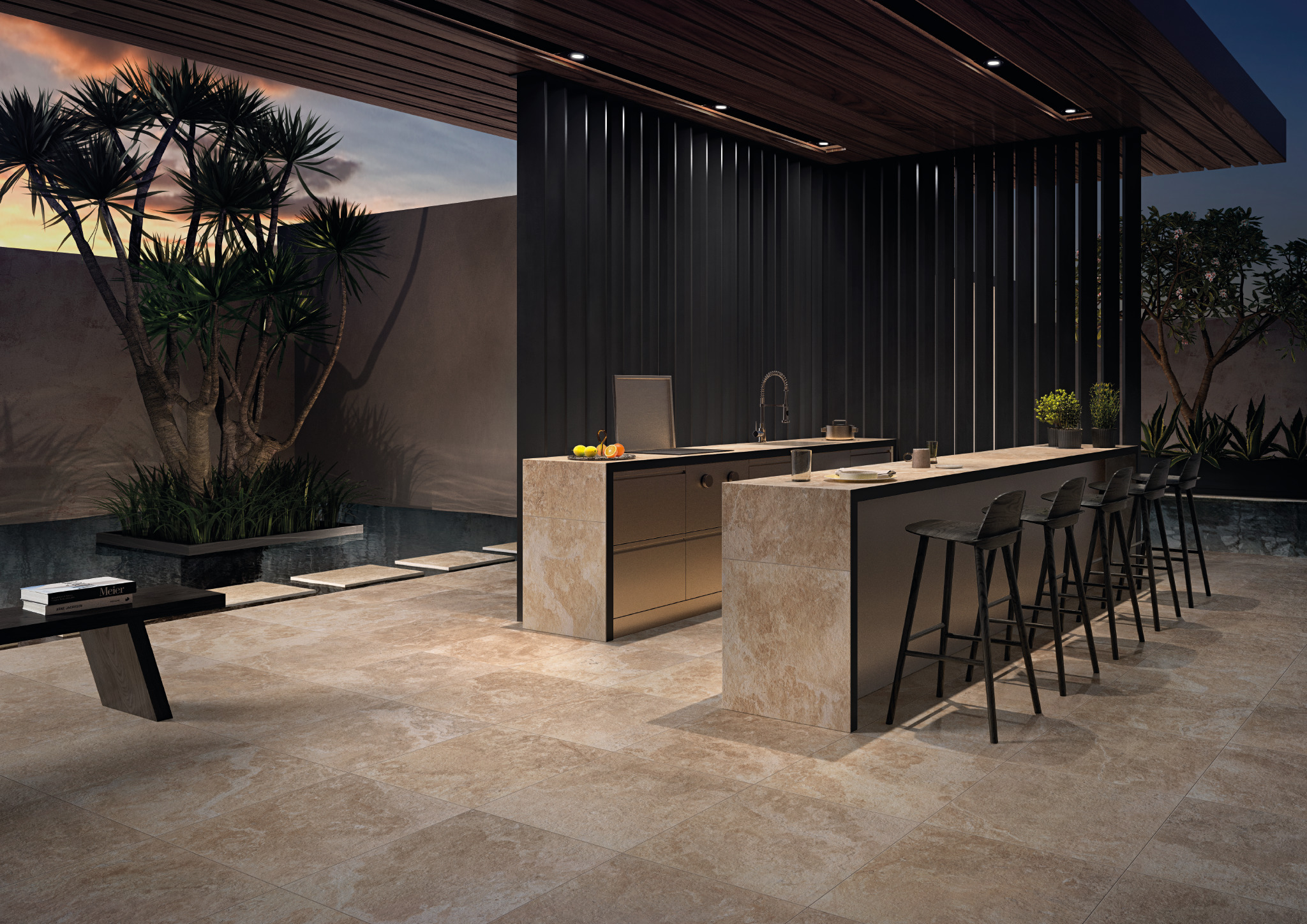 Stone-look tile flooring and countertops in an outdoor kitchen