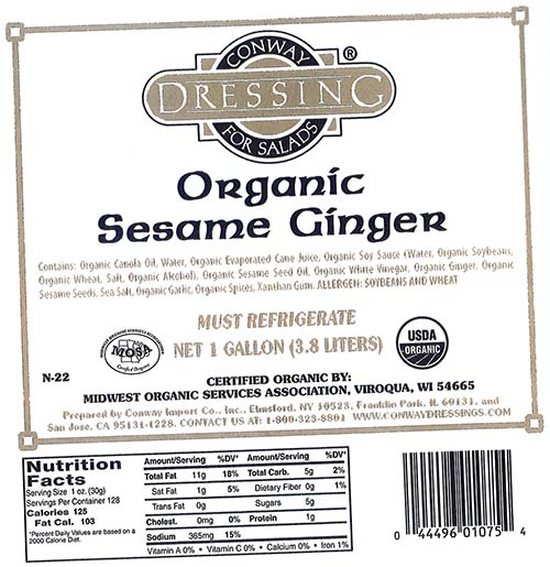 Conway Organic Sesame Ginger Dressing, Net 1 gallon, front label