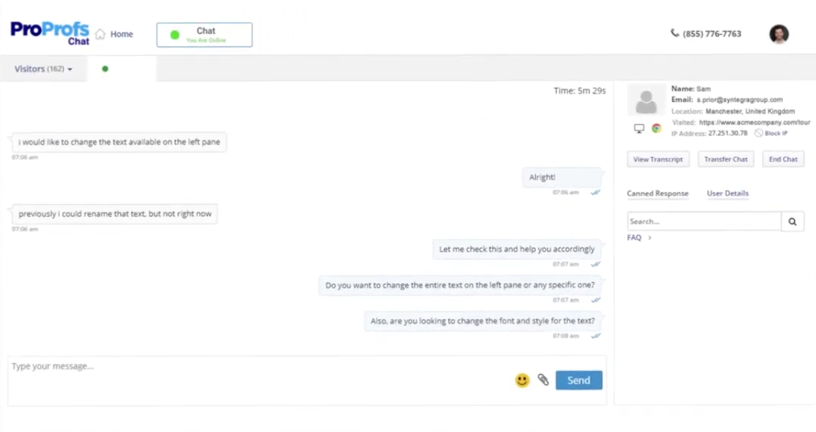 ProProfs Chat- Live Chat Software