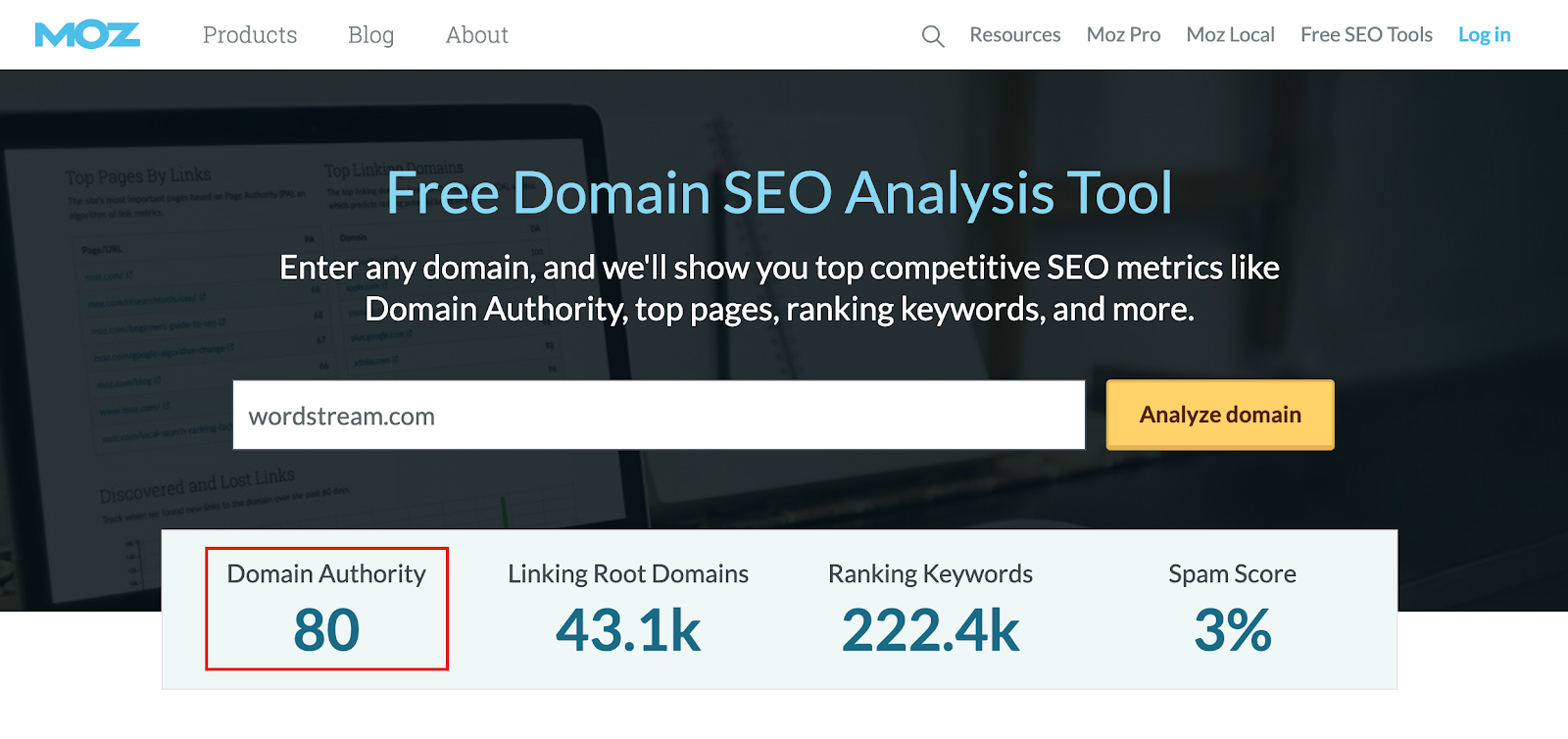 Moz's Domain Authority checker